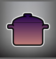 cooking pan sign violet gradient icon vector image