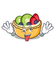 crazy fruit tart mascot cartoon vector image