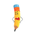 cute annoyed cartoon yellow pencil character with vector image