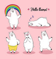 cute lama doodle collection vector image vector image
