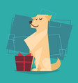 dog with gift box happy new year 2018 zodiac vector image
