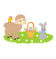 easter bunny and lamb vector image vector image