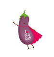 eggplant dressed as a superhero cartoon character vector image