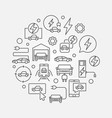electric car round in thin vector image vector image