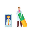 flat female doctor in smartphone man pill vector image