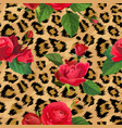 flowers and leopard skin seamless pattern animal vector image vector image