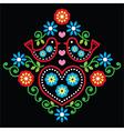 Folk art floral pattern on black vector image vector image