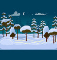forest evening different trees covered with snow vector image vector image