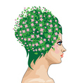 Girl with green hair and flowers vector image