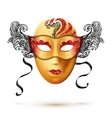 Golden full face carnival mask with ornate lacy vector image vector image