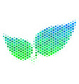 halftone blue-green floral leaves icon vector image vector image