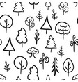 hand-drawn trees on white retro seamless pattern vector image