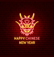 happy chinese new year neon label vector image