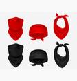 head bandanas neck scarf and realistic set vector image vector image