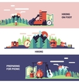 Hiking And Picnic Horizontal Banners vector image