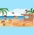 kids playing at the beach vector image