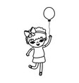 line girl child with curly short hair and balloon vector image