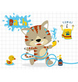 little cat cartoon in bathroom vector image