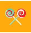 Lollipop Sweets Christmas Flat Icon vector image