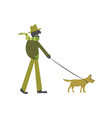 man walking a dog on a leash on white background vector image