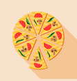 pizza with mushrooms and cherry tomatoes icon vector image vector image
