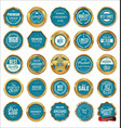 quality gold and blue labels vector image vector image