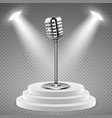 realistic microphone white podium for stage vector image vector image
