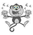 rich monkey character jumping with cash money vector image