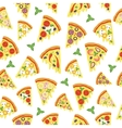 seamless pattern with slices of pizza vector image