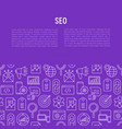 seo and development concept with thin line icons vector image vector image