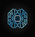 smart brain blue outline icon cyberbrain vector image vector image