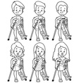Smiling girls and boys with a broken leg in a cast vector image vector image