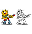 summer fun sun guitar rocker cartoon vector image