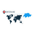 switzerland location on the world map for vector image vector image