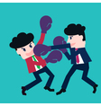 Two businessmen fighting in a boxing with boxing g vector image