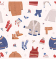 winter seamless pattern with warm knitted clothes vector image