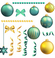 Christmas decorative ball and ribbon set vector image