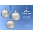 Christmas card with three silver pendants in the vector image