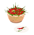 A Brown Basket of Red and Green Chili Peppers vector image vector image