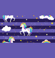 background with unicorns rainbow vector image