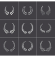 black laurel wreaths icons set vector image