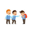 boys laughing and pointing at sad boy bad vector image vector image