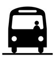 bus front view with driver conductor black and vector image
