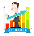 Business Man with Arrow and Success Graph vector image
