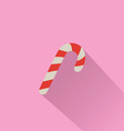 Candy Cane Isolated on Pink Background vector image
