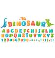 cartoon dino font dinosaur alphabet letters vector image