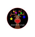 christmas reindeer wearing face mask for covid-19 vector image