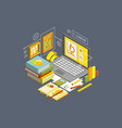 concept of online education and distance e vector image vector image