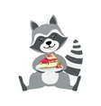Cute Raccoon Character Sitting With Plate Piece vector image vector image