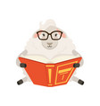 cute white sheep character sitting and reading a vector image vector image